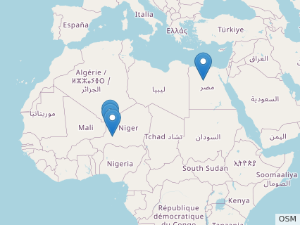 Locations where Bahariasaurus fossils were found.