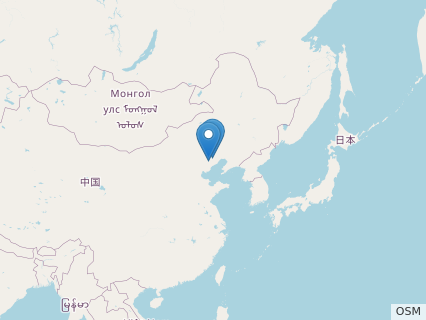 Locations where Changchengopterus fossils were found.