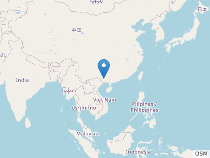 Locations where Qingxiusaurus fossils were found.