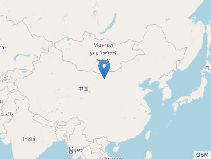 Locations where Shaochilong fossils were found.