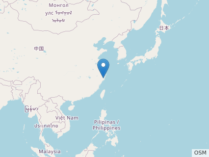 Locations where Zhejiangopterus fossils were found.